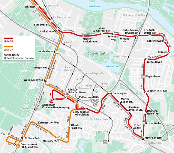 Verlauf der Buslinien 26 und 27
